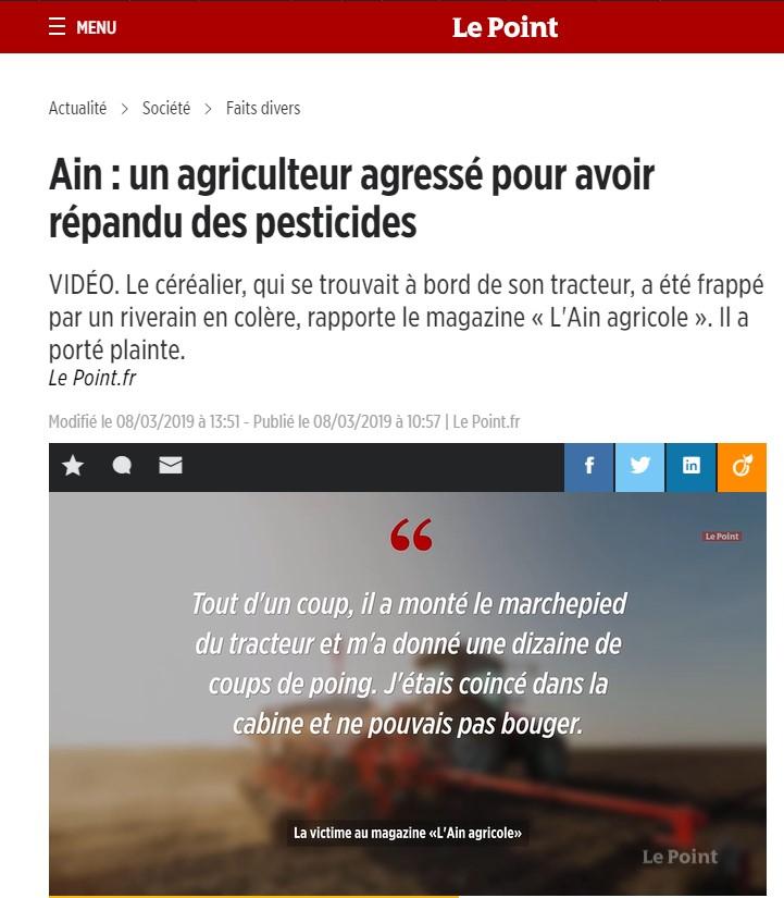 Agriculteur agressé pesticides